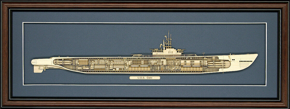 Wood Cutaway Model of WW II Submarine USS Gato (SS-212) - Made in the USA