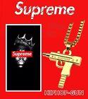 Supreme Uzi Pistole Halskette mit Anhänger HipHop-Gun in Gold Farbe NEU