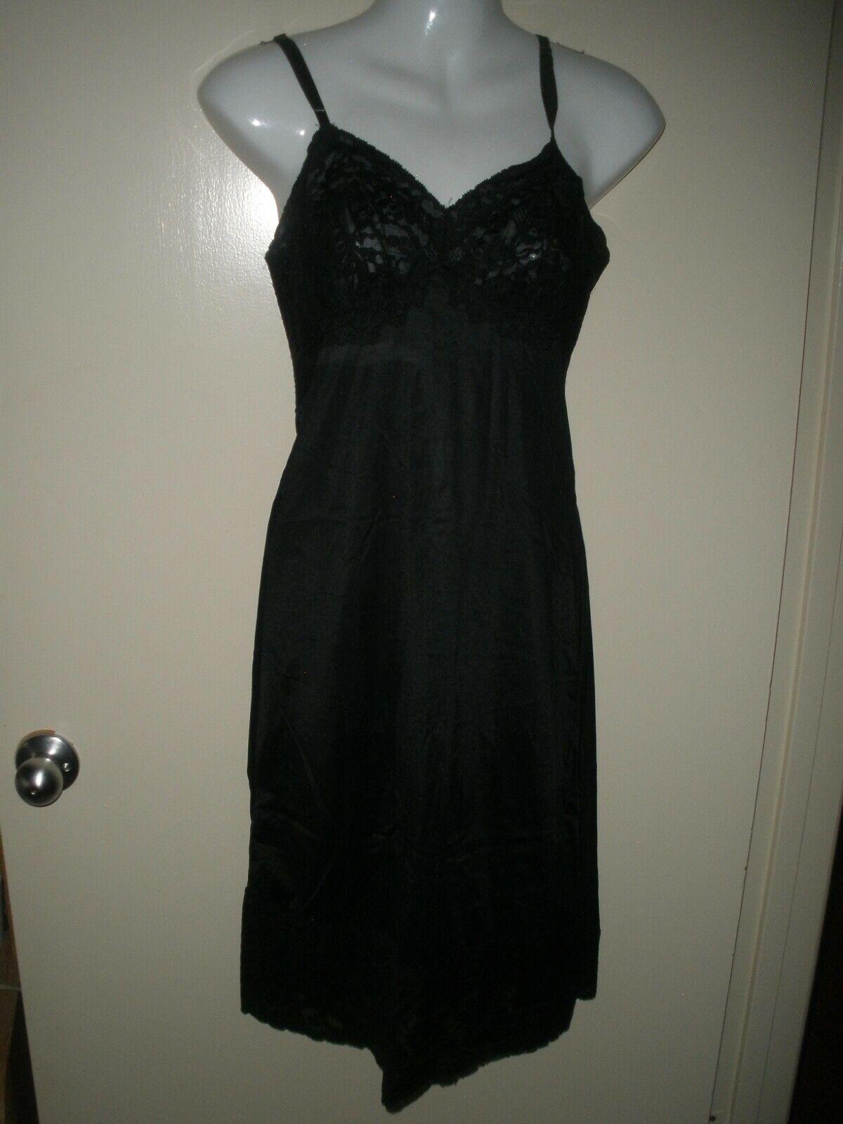 #504 vintage 1960s Slip Dress Vanity Fair Nylon Slip Black Dress Full 32