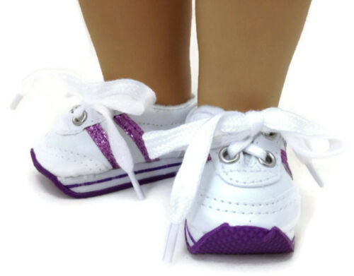 White w//Purple Mini Sketz Shoe Sneakers fits 18 inch American Girl Doll Clothes