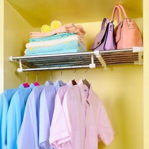 Expandable Wardrobe Tension Shelf Cupboard Storage Rack ...