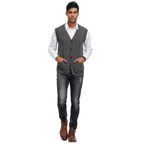 Men Knitted Sleeveless Buttons Cardigan Fine Knitwear Sweater Vest Waistcoat Top