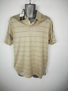 NEW-MENS-PALMER-BEIGE-BLACK-WHITE-STRIPED-POLO-SHIRT-TOP-CASUAL-SIZE-SMALL-S