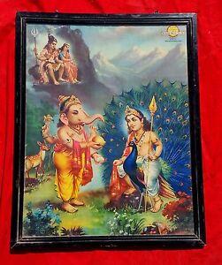 Old Early Rare Lord Shiva Parvati Ganesha Kartikeya Adv Litho Print Framed Pic Ebay