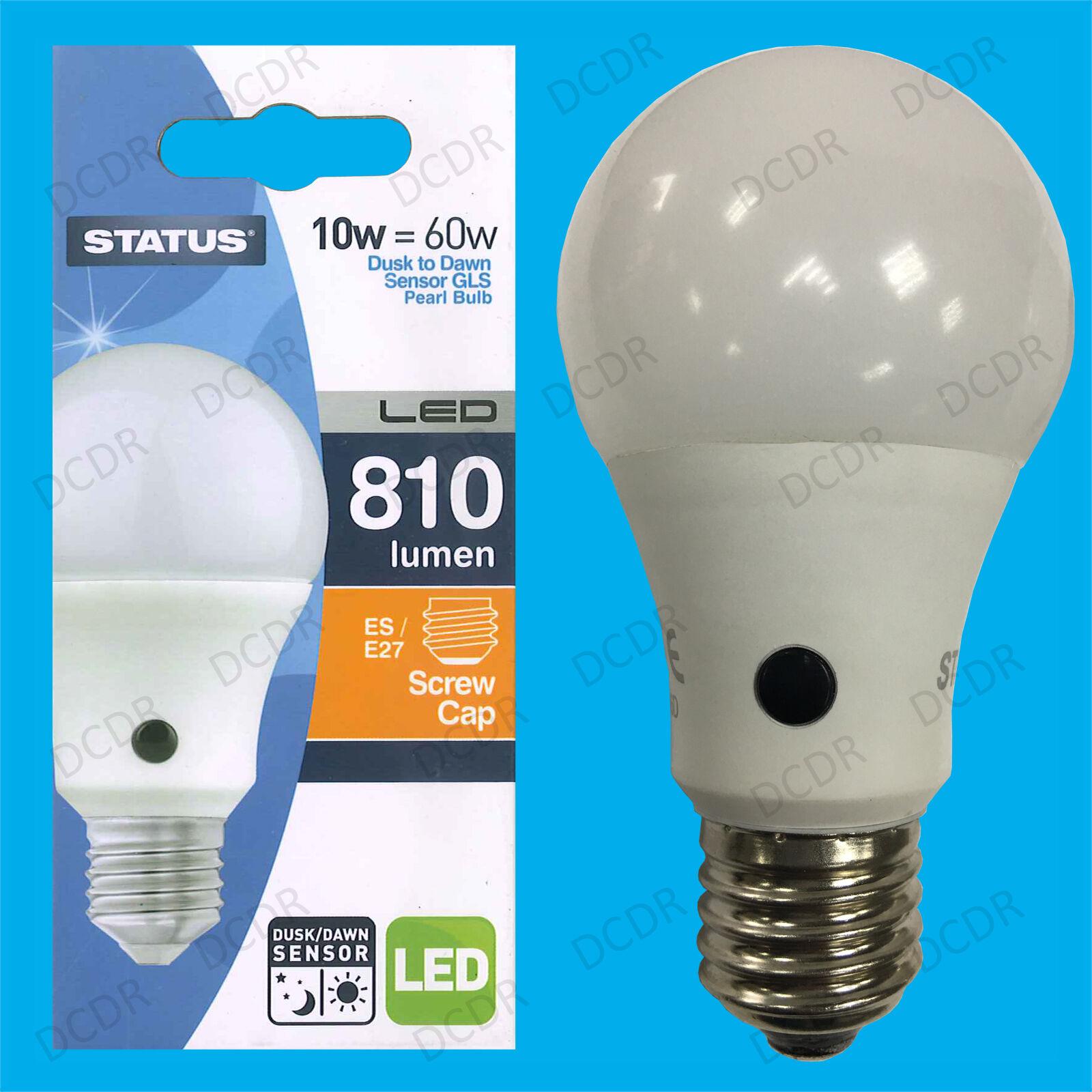 8x 10W = 60W LED GLS Dusk Till Dawn Sensor Security Night Light Bulb ES E27 Lamp