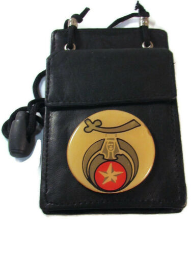 BADGE HOLDER POUCH with lanyard Details about  /SHRINERS MASONIC BLACK LEATHER ID