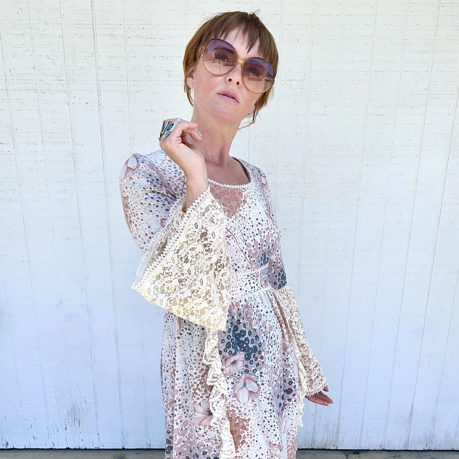 Vintage 70s Floral Maxi Dress Lace Sleeves Fairyc… - image 6