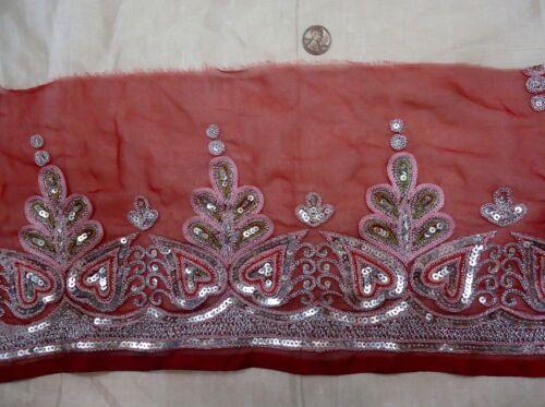 Vintage Antique Border Sari Trim Lace RARE OLD  2 ft T18-7 Red Tara #ABGUA