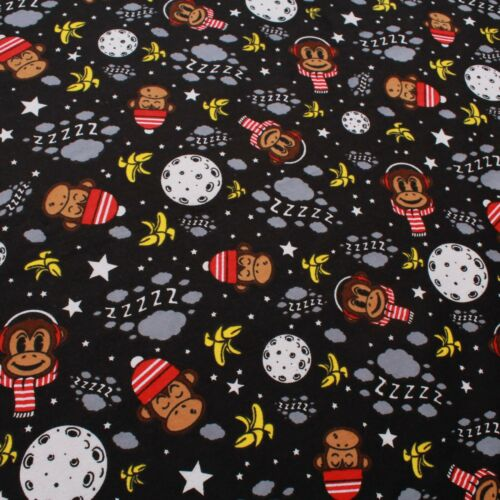 "Animals Print Brushed Cotton Zebras//Pigs//Foxes//Monkeys//Ladybugs 57/"" 5 Designs"