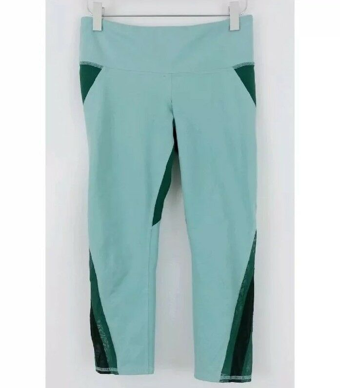 Alo XS  Leggings Capri 87370 Mesh Insert Green bluee Free Ship