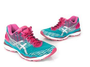 f1d283387d Asics Womens 9.5 Gel Nimbus 18 Running Shoes Athletic Teal Pink ...