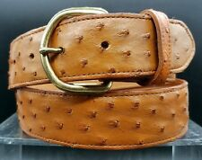 """NEW COGNAC BELT 32"""" Genuine OSTRICH FULL QUILL Exotic Skin Western Leather"""