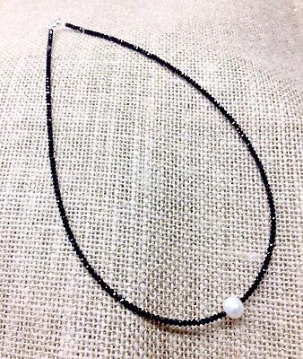 "17/"" 7mm Freshwater White Pearl /& Tibet Silver NecklaceFSCH"
