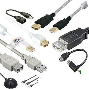 Stecker-A-Buchse-USB-2-0-Verlaengerung-s-Kabel-schwarz-weiss-Gold-Winkel-WLAN