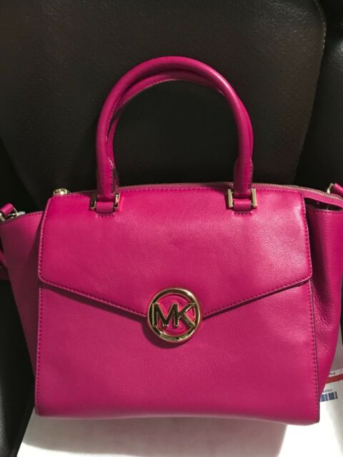 Michael Kors Hudson Women S Fuchsia Genuine Leather Large Satchel Bag Purse 398