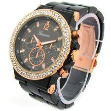 Black Rose Gold Geneva Acrylic Band Crystal Bezel Oversized Women's Watch