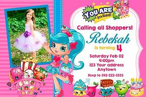 Image Is Loading SHOPKINS Birthday Party Invitations Personalized Custom