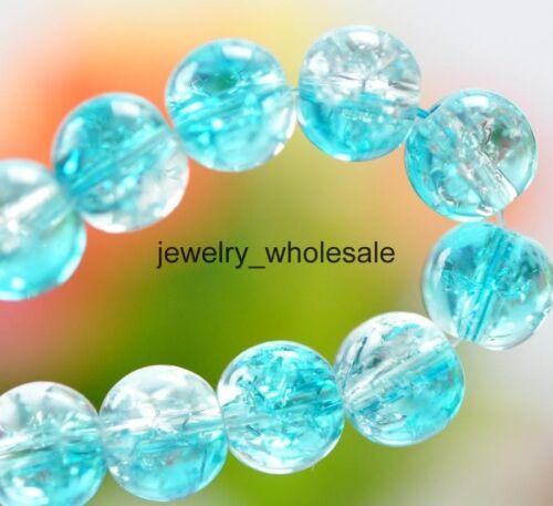 Al por mayor de 6 mm 8 mm Cristal Crack Vidrio Redondo suelto espaciador perlas 10 Color U Pick