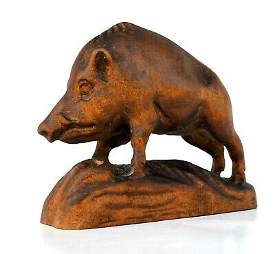 Carved Wood Wild Boar Figurine Black Forest Style 4 1 Ebay