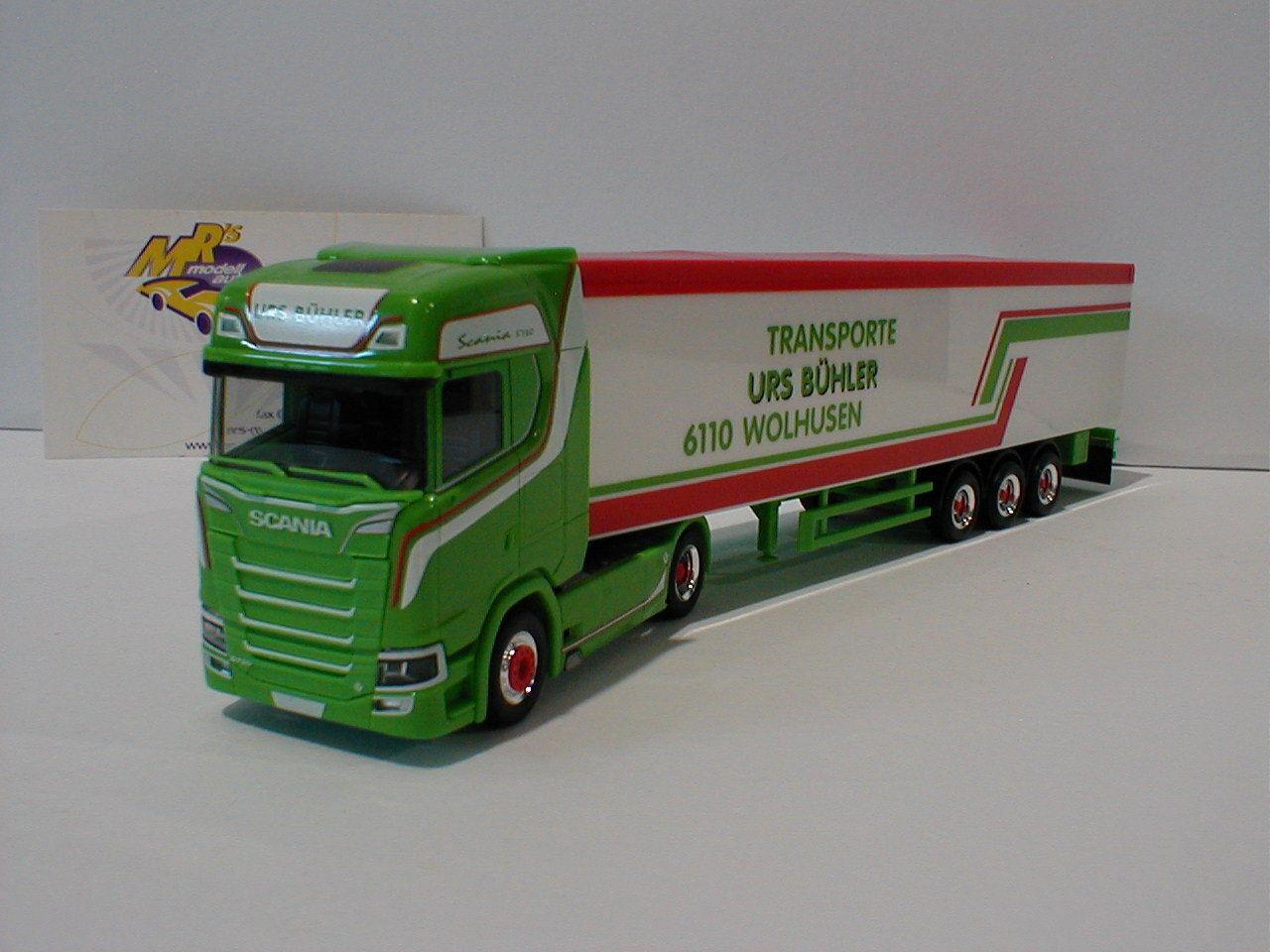 Herpa 307604 - Scania CS 20 HD V8 Schubboden-Sattelzug   Urs Bühler   grün 1 87  | Bunt,