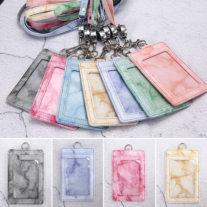 1 X Marbled Tie-Dye Work Badge Office Name Tag Pass Lanyard ID Card Holder PU