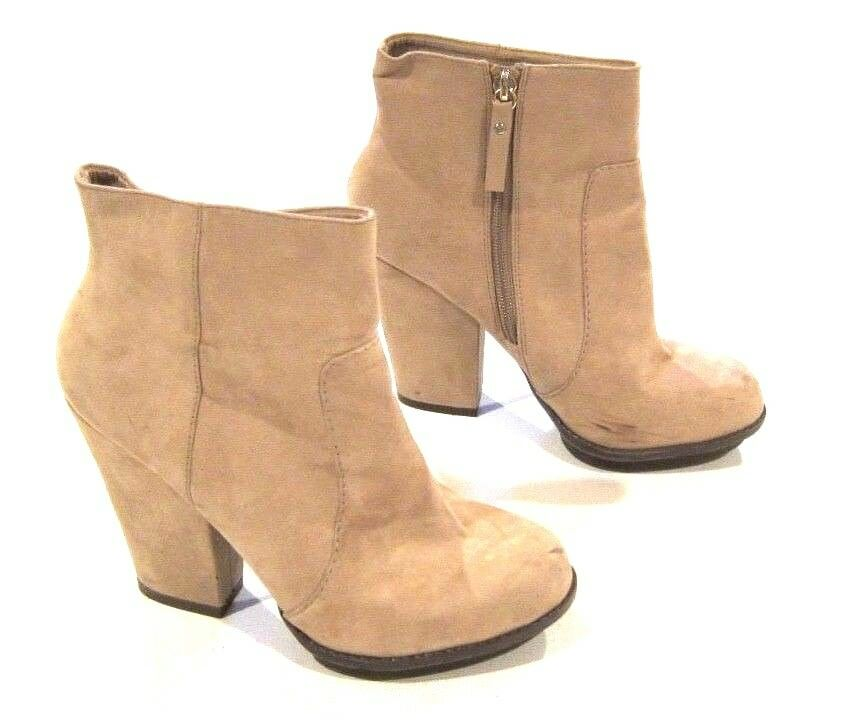 Zara Ankle Boots Heels in Tan Faux Suede Leather sz 38 / US 7
