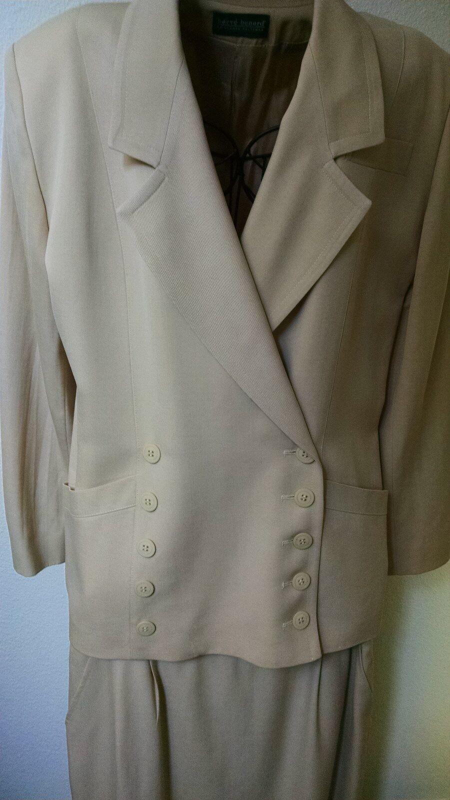 Harve Bernard, Beige Wool Double Breasted Suit, Size 12, Item