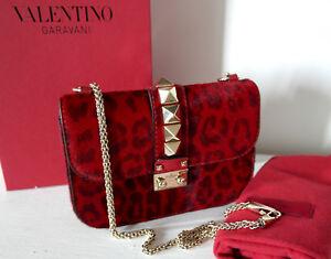 Preloved-Genuino-Valentino-Garavani-pequeno-bolso-de-bloqueo-Rockstud-ponyskin-leopardo-rojo