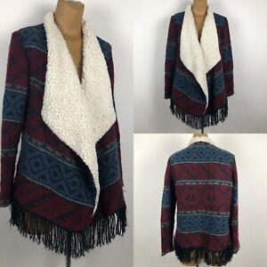 Hollister-Sherpa-Lining-Red-Blue-Women-Cardigan-Sweater-Jacket-SZ-L