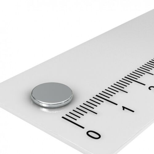 10 x Neodym Scheibenmagnet 8x0.75 mm nickelt Grade N35 magnetisiert durch 0.75mm