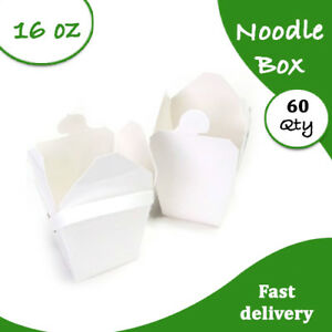 Medium 16 Oz 60 pc White Noodle Boxes Cardboard Party Noodle Boxes Bulk