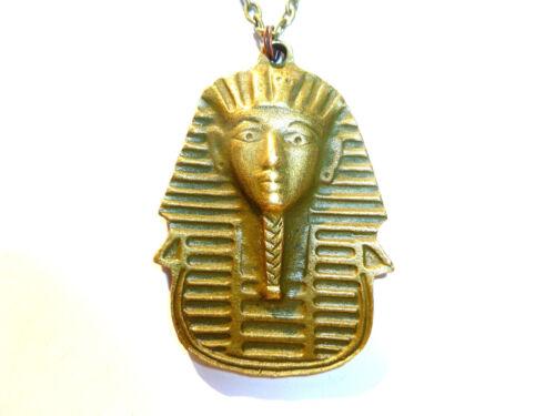 PHARAOH HEAD ANTIQUE BRONZE PLATED ALLOY EGYPT PHARAOH CHARM NECKLACE MASK RA