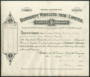 Burndept wireless (1928) Ltd, 5 SHILLING azioni, 1928