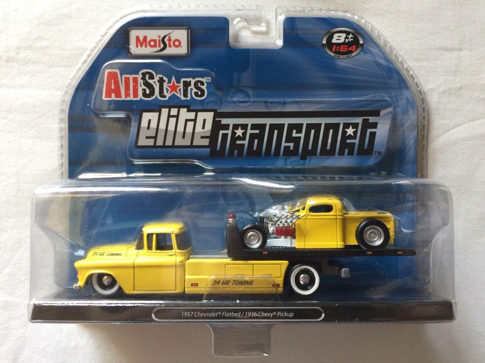 Maisto All Stars Elite transporte 1957 Chevrolet Plano 1936 Chevy Pickup giallo