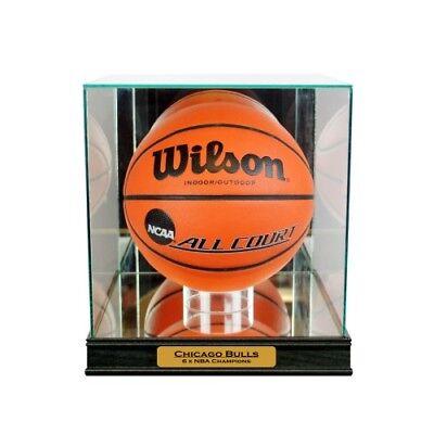 New Chicago Bulls Championship Glass & Mirror Basketball Display Case Uv Autographs-original