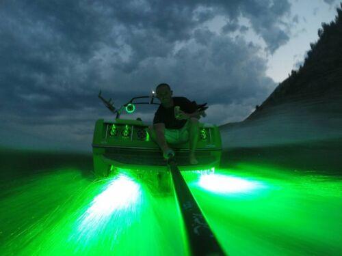 GREEN YK-CD-G DOUBLE LED BOAT DRAIN PLUG LIGHT CENTER DRAIN  2400 LUMEN LED
