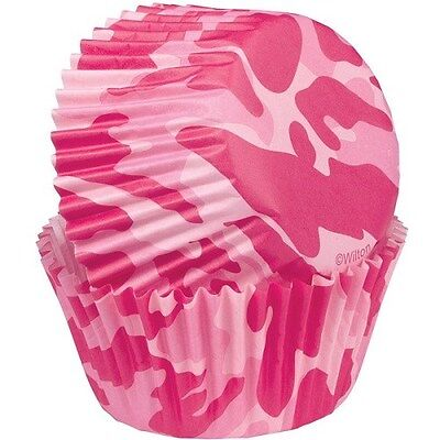 75 WILTON PINK CAMO CUPCAKE LINERS COLOR BAKING CUPS BIRTHDAY FAVORS 75 CT 2 IN