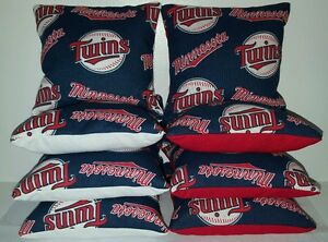 Set Of 8 All Weather Minnesota Twins Cornhole Bean Bags