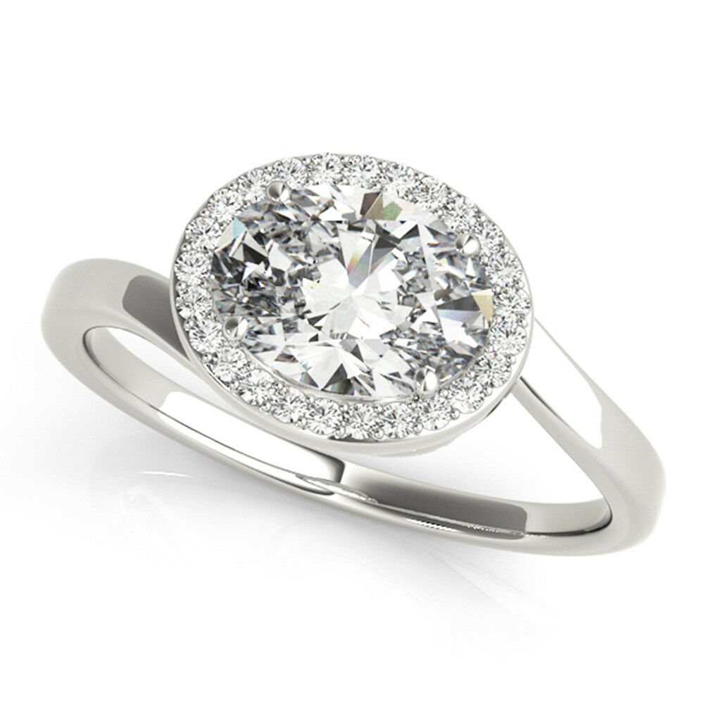 2a65f7cc45e15 gold Ring Solitaire Wedding White Real 14K Rings Diamond Cut Oval ...