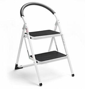 Folding 2 Step Steel Ladder Amp Stool Safe Design W Extra
