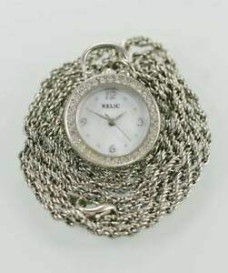 Relic Watch Womens MOP Stainless Silver Necklace Battery Water Resistant Quartz