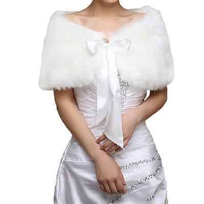 Ivory Plush Faux Fur Women Wedding Wraps Shrug Bolero Jackets Bridal Coat Shawls