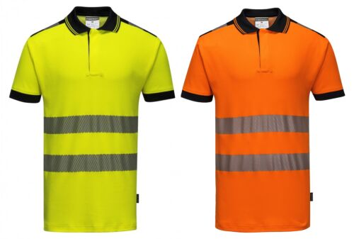 S-3XL PORTWEST T180 Vision yellow or orange hi-vis breathable work polo shirt