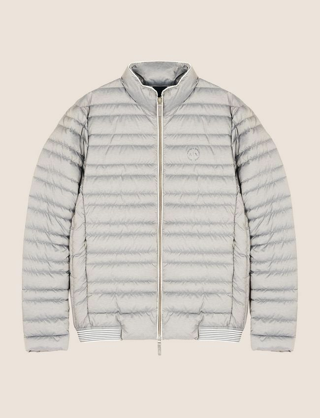 ARMANI EXCHANGE BICOLOR STAND COLLAR PUFFER