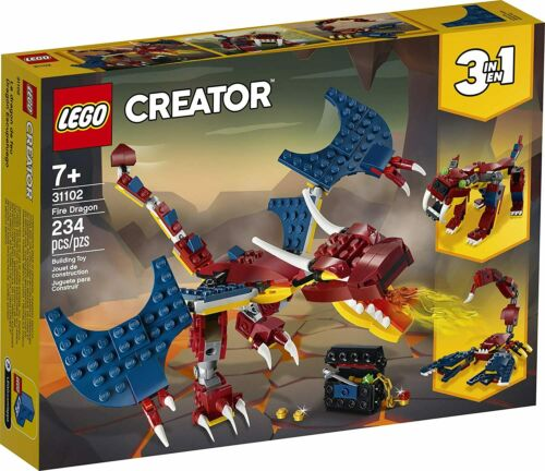 Cool Buildable Toy for Kids LEGO Creator 3in1 Fire Dragon 31102 Building Kit