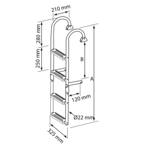 Lalizas// Nuova Rade Edelstahl Badeleiter mit 4 bis 6 Stufen einklappbar