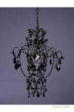 Dusx vintage nero puro cristallo francese vetro lampadario luce