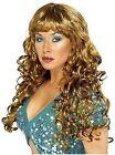 Ladies Brown Siren Glamorous Shiny Curly Fringe Long Fancy Dress Costume Wig