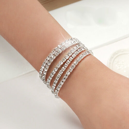 Wholesale Sparkling Sweet Rhinestone Elastic Belt Chain Women Wedding Bracelet