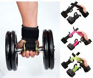 ISLERO-Weightlifting-Hook-Gym-Straps-Neoprene-Gel-wrist-Support-Wraps-Grips-Pair